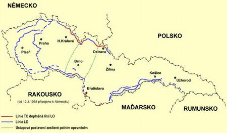 Dokončené úseky československého opevnenia k 30.9.1938